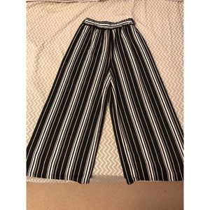 Black and White Culotte Pants